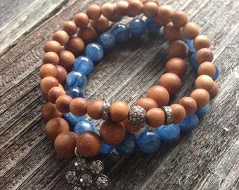 Sandalwood Beads and Pave Diamond Bead and Spacer Beads Stretch Bracelet Beaded Boho Bracelet