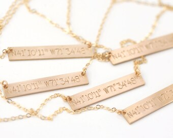Coordinates Necklace <<>> 14k Gold, Rose Gold, or Sterling Silver