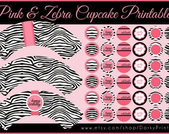Zebra Cupcake Labels Printable PDF - Printable Party Supplies - Pink Zebra Birthday Party DIY