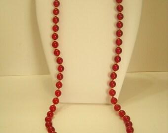 "Vintage Monet 30"" Burgundy Lucite Beaded Necklace (9037**)"