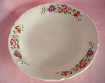 Vintage Shabby Soup Bowl W.S. George Argosy Ivory Floral Cottage Chic Vintage Wedding Replacement China