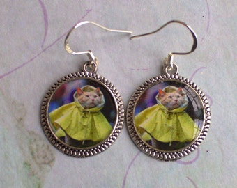 Cat Earrings Picture Jewelry  in Yellow Raincoat Silver Round