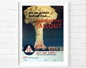 "Protect Yourself from Fallout! Vintage Cold War Print Reproduction - 16"" x 20"""
