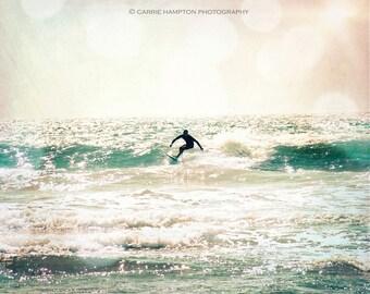 surfer ocean pastel bokeh water aqua vintage wall art beach boho bohemian