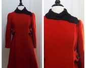Vintage 1950s 1960s Lipstick Red Swing Coat / ModCloth Style / Small