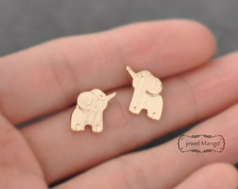 Gold elephant earrings, elephant stud, gold, post earrings, simple Jewelry, lucky jewelry, Elephant Post Earrings