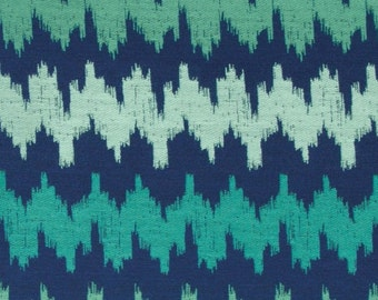 Mint Green Navy Blue Abstract Upholstery Fabric - Teal Woven Furniture Fabric - Blue Green Chevron Fabric By The Yard - Blue Green Pillows