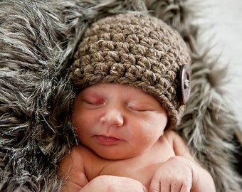 Barnwood Brown Baby Hat 0 to 3 Month Baby Girl Hat Baby Boy Hat Gender Neutral Wood Button Photography Prop Photo Prop Baby Clothes Winter