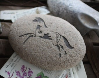 Painted War Pony engraved stone