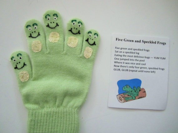 Five green and speckled frogs hand puppet, teacher gift