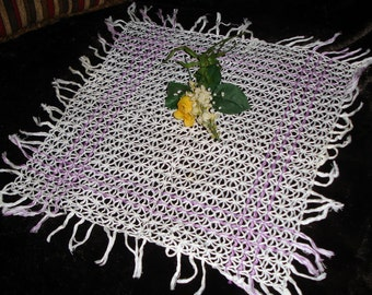 Hand Crocheted Centerpiece Doily with Fringe Edging, Handmade, Home Decor, Cottage chic, Easter, White and Lavender, Vintage