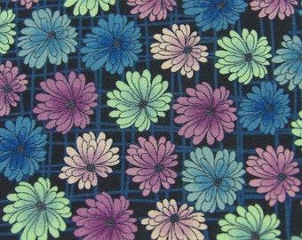 Quilt making cotton fabric, chrysanthemum flower print on navy background