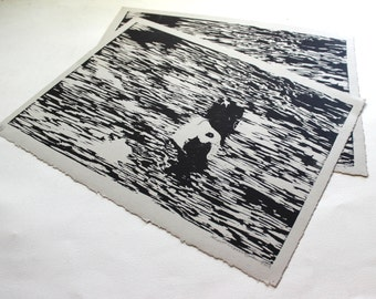 River. Original Woodblock Print