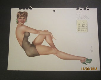 Vintage Calendar 1943 Vargas pin-up original (March calendar page)