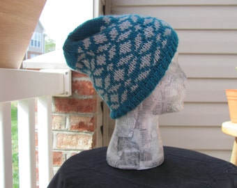 Fair Isle Beanie - Teal and Grey