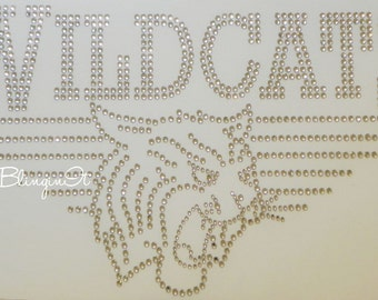 Wildcats Hot Fix Iron On Rhinestone Transfer Bling Applique
