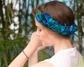Silk flower crown in deep blue, turquoise and green floral pattern for women / wedding & party