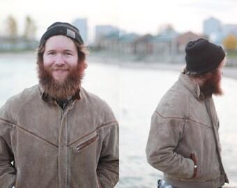 Vintage 1970s medium / large Men's / unisex tan leather heavy winter coat / jacket / light brown suede /
