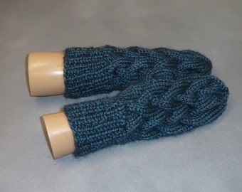 Cabled Winter Alpaca Mittens - Hand Knit Cabled Mittens, Alpaca Natural Blend, Aqua / Blue READY TO SHIP