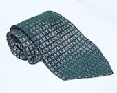 Vintage 1970s Green and Black Checked Acetate Tie