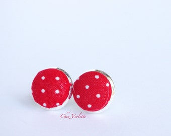 red white polka dot stud earring / rock rockabilly jewelry / tiny small fabric post / pinup sixties
