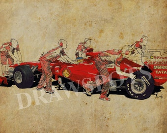 Ferrari a boxes 2, Art print, Original Handmade Drawing Print ,11.5x16 in.