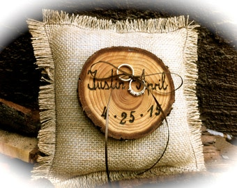 Customized Wedding Ring Bearer Pillow, Rustic Ring Bearer, burlap ring bearer, fall wedding ring bearer pillow