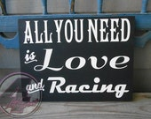 All You Need is Love and Racing Hand Painted Wood Art Box Sign