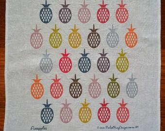 Pineapple digitally printed 100% linen teatowel