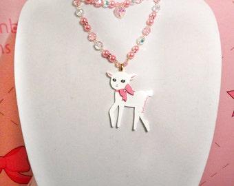 Kawaii Fairy Kei Lolita DaniLamb Cute Lamb Acrylic Necklace Pink