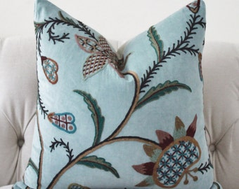 "SALE 25.00 18"" or 20"" - Blue Floral Pillow - Multi Colored Embroidered Flower Designer Pillow - Blue Green Red Floral Throw Pillow"