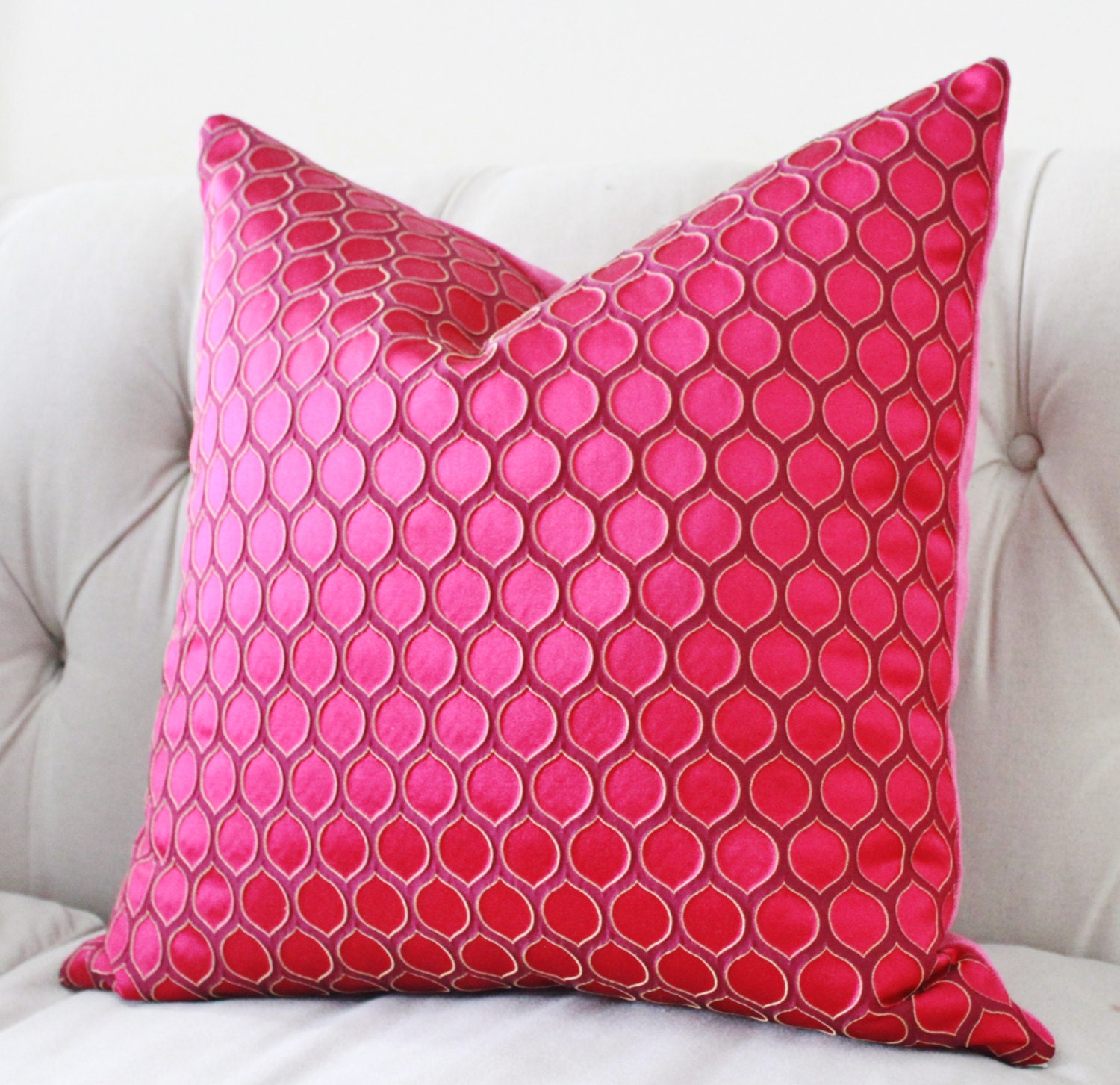 Pink Pillow Cover Raspberry Pink Geometric Pillow Fuchsia