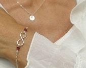 Infinity Bracelet/ Sterling Silver Infinity with Birthstones/ Friendship Bracelet/ Bridesmaid Gift/ Birthstone Bracelet/ Valentine's Day