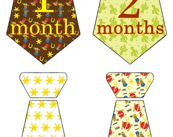 Western Cowboy Monthly Birthday Stickers