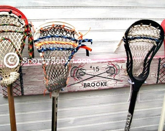 Girls Lacrosse Stick Hanger Wall Mount Holder Lax Decor Team Colors Personalized Handmade Painted Furniture Rack Athletes Room Sport Art