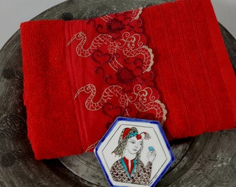 towel/red towel/lace towel/towel shop/towel store/towels/home&living/best price/turkish bath/turkish towel/red/red and brown