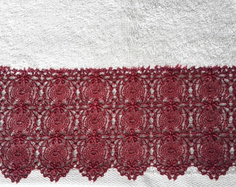 Claret red lace on %100 cotton hand towel/Soft Towel/Best price towel/Grey towel/Cotton towel/Special towel/Unique towel/Grey and claret red