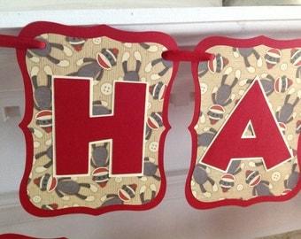 Red Sock Monkey Happy Birthday Banner