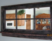 RESERVED for Norma --Barnwood Window Mirror with Shelf