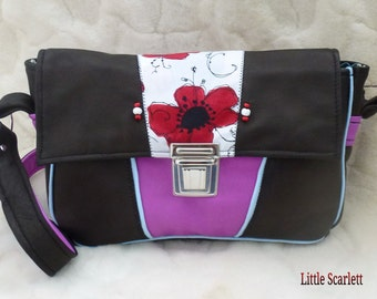 Handbag in purple and black leather and fabric poppies