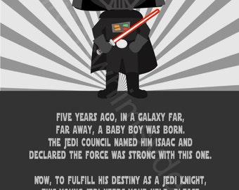 Star Wars, Darth Vader Youth Printable Birthday Party Invitation DIY