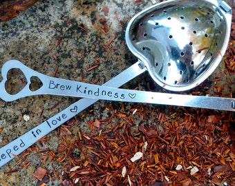 Hand Stamped Tea Infuser, Personalized loose leaf tea steeping spoon