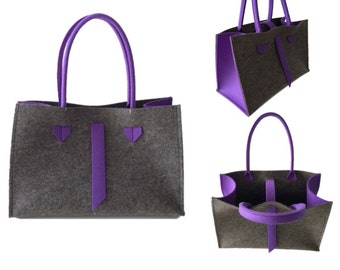 ArtAK FACE Bag. Wool felt tote bag. Made to order. Designer Wool Felt Bag.