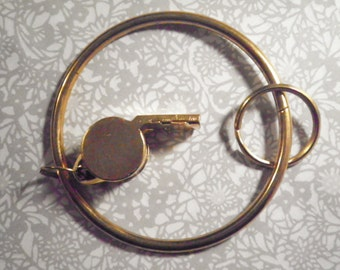 """1 Goldplated Whistle on a 3-1/4"""" Key Ring"""
