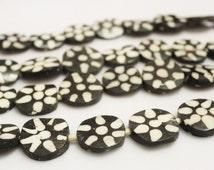 10 African Batik Bone Beads, Kenya Bone Beads, Black and White Beads, Ethnic Beads (G130)
