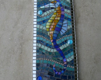 Mosaic Seahorse Wall Plaque Picture Underwater Scene Nautical Made to Order