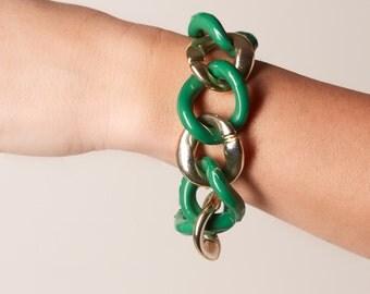 Vintage Gold Tone and Green Large Plastic Link Bracelet