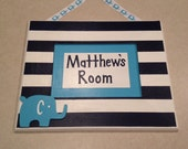 Personalized Striped Child's Name Door Sign