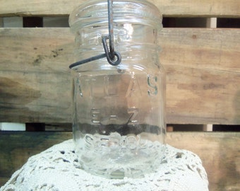 5 Vintage Clear Jar Pint Sized Atlas E-Z Seal with Wire Bail and Glass Lid