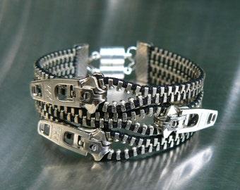 Nickel Uno Dos Tres Zipper Bracelet - Cuff Bracelet - Gothic Jewelry